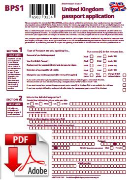 British Passport Services - Unofficial Passport Application Form