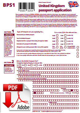 British Passport Services - Unofficial Passport Application Form