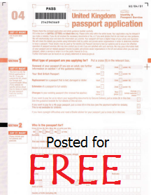 Free UK Passport Application Form